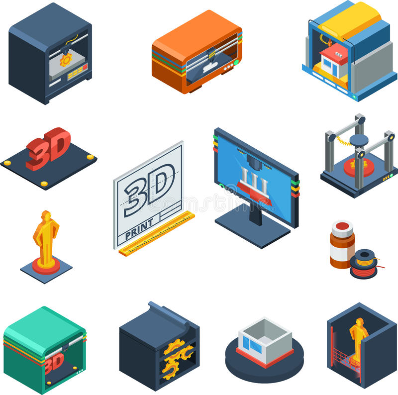 3D que imprime la colección isométrica de los iconos libre illustration