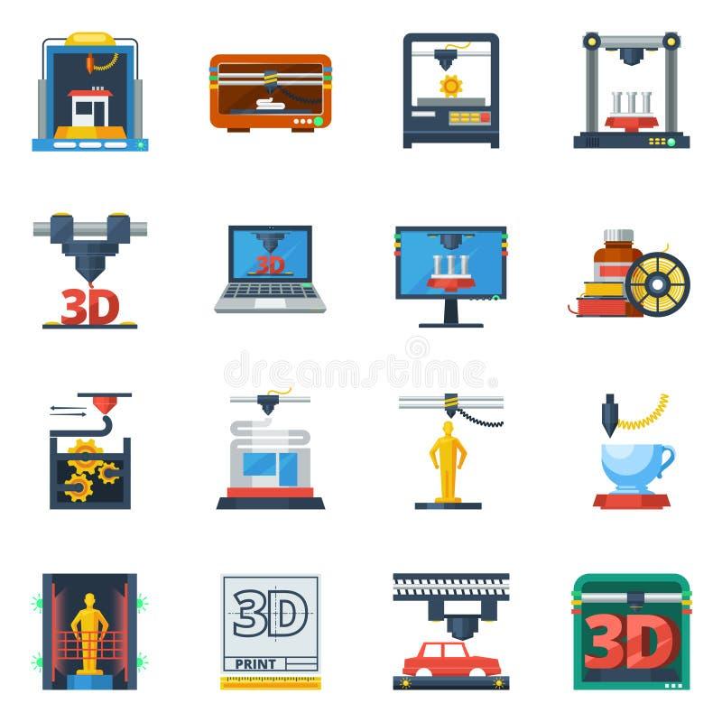 3D que imprime la colección plana de los iconos stock de ilustración