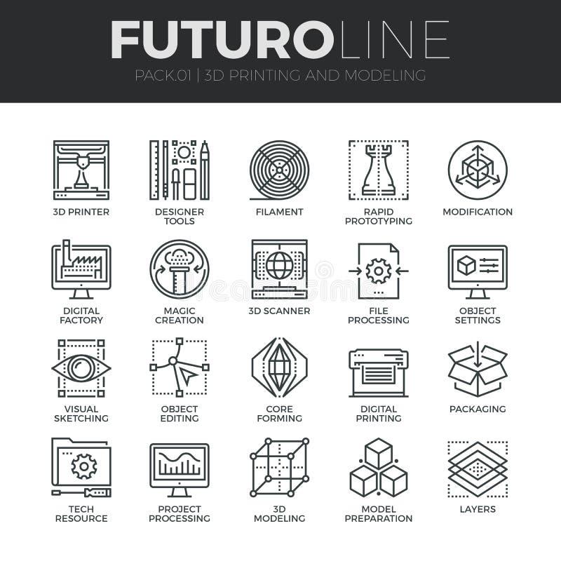 3D que imprime la línea iconos de Futuro fijados stock de ilustración