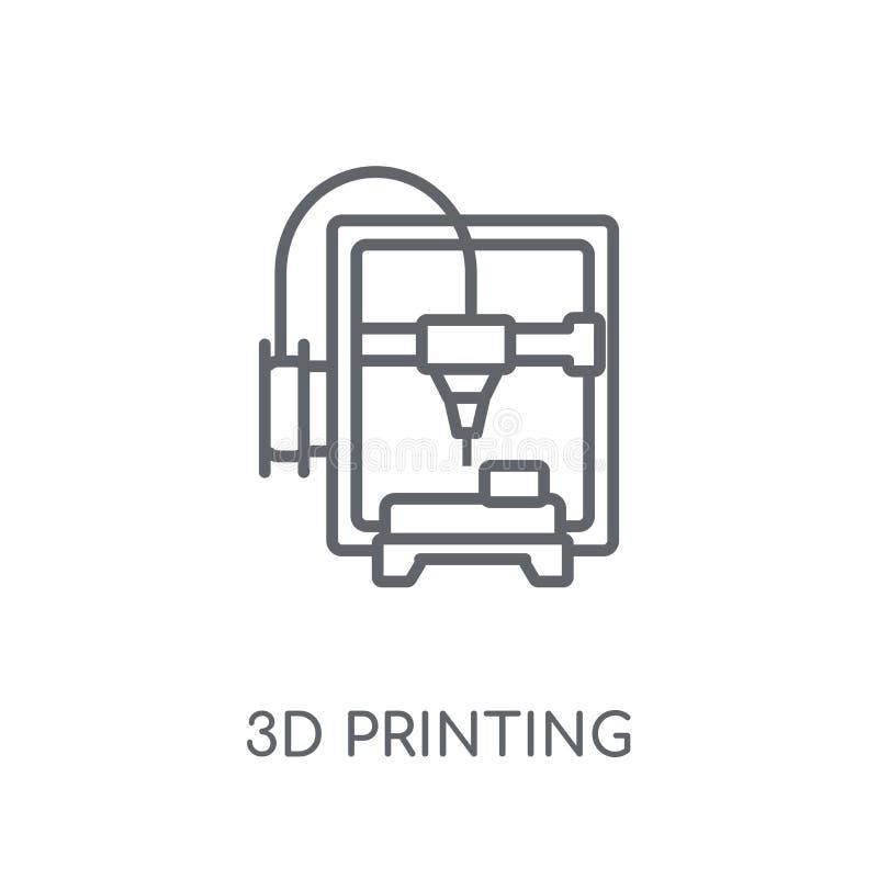 3d que imprime o ícone linear Conceito moderno do logotipo da impressão do esboço 3d ilustração stock