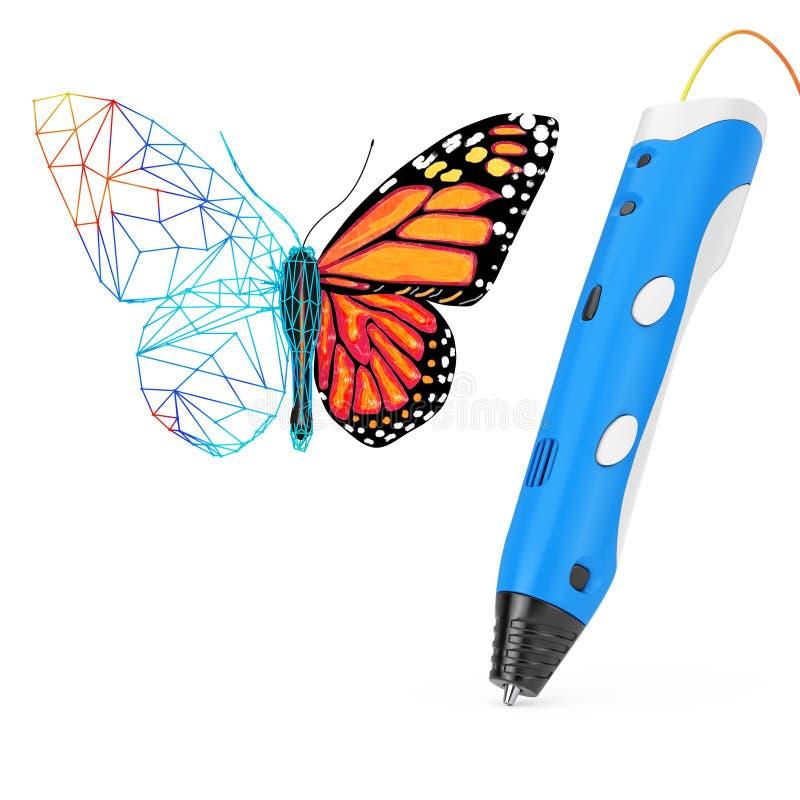 3d que imprime a Pen Print Abstract Wired Butterfly representación 3d stock de ilustración