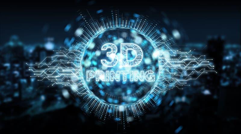 3D que imprime a rendição digital do fundo 3D do holograma do texto ilustração stock