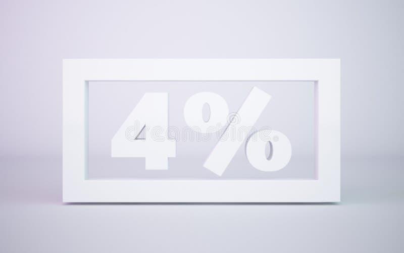 3D que rendía porcentaje del blanco 4 aisló el fondo blanco fotos de archivo libres de regalías