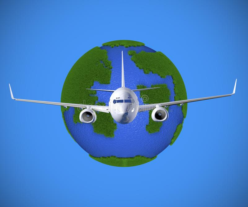 3D que rende aviões voa em torno da terra do planeta ilustração stock