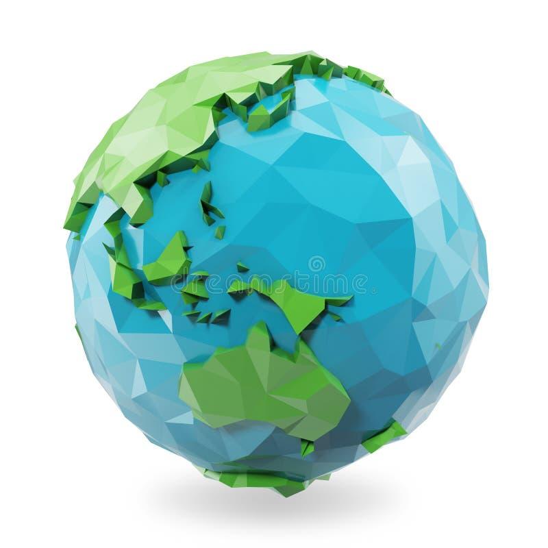 3D que rende a baixa ilustração poli do globo da terra Ícone poligonal do globo, baixo estilo poli ilustração stock