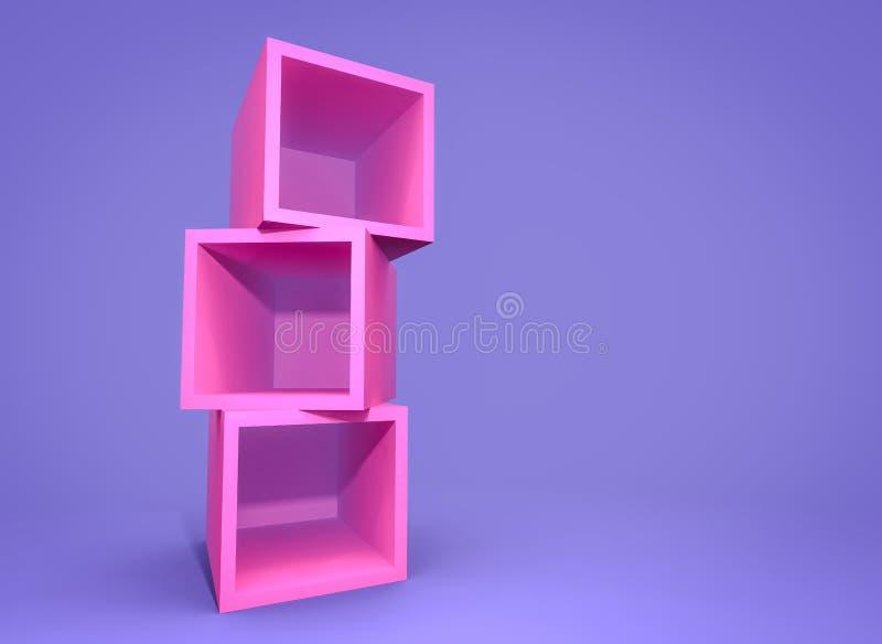 3d que rende a caixa cor-de-rosa vazia no fundo claro, cor brilhante ilustração royalty free