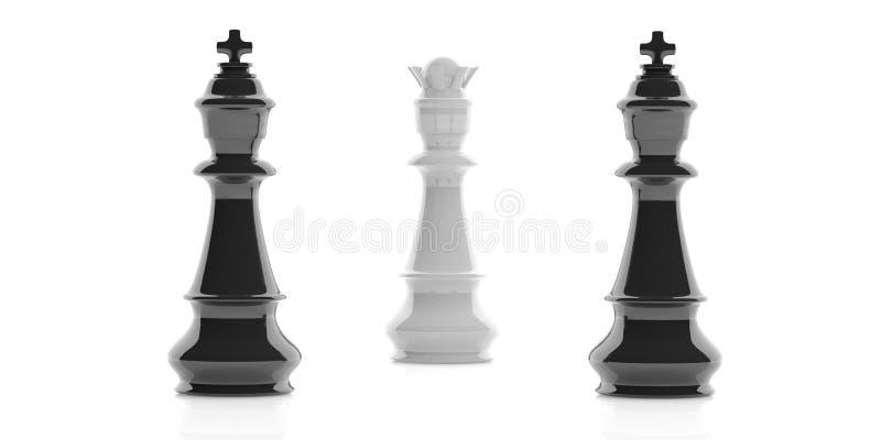 3d que rende dois reis da xadrez e uma rainha no fundo branco ilustração stock