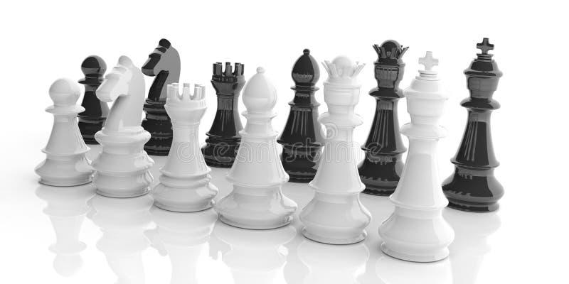 3d que rende grupos de xadrez básicos no fundo branco ilustração do vetor