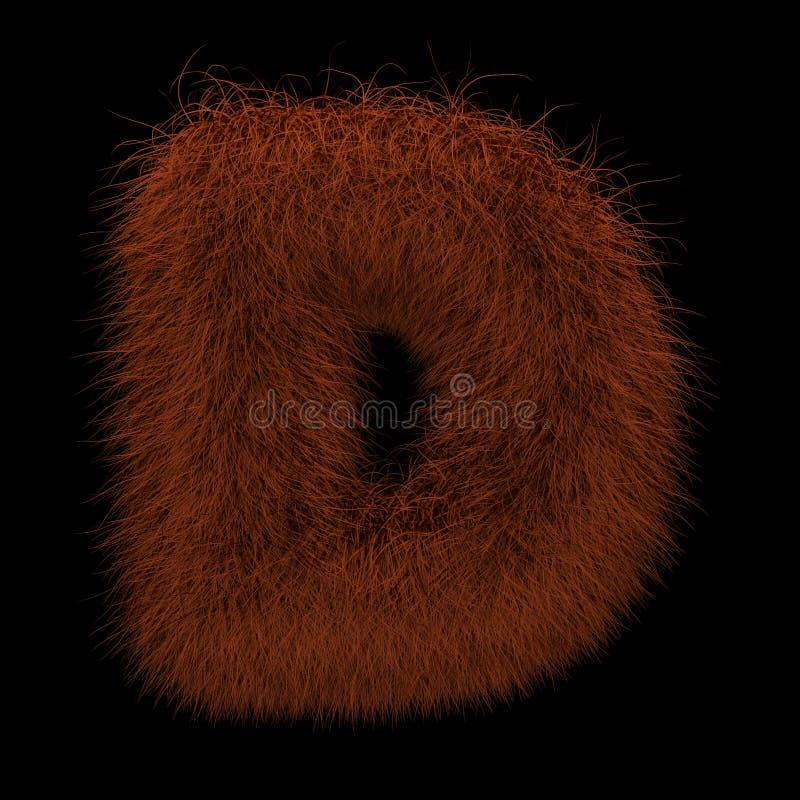3D que rende a ilustração criativa Ginger Orangutan Furry Letter D ilustração royalty free