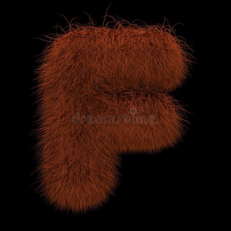 3D que rende a ilustração criativa Ginger Orangutan Furry Letter F ilustração do vetor