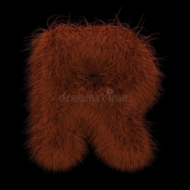 3D que rende a ilustração criativa Ginger Orangutan Furry Letter R ilustração royalty free