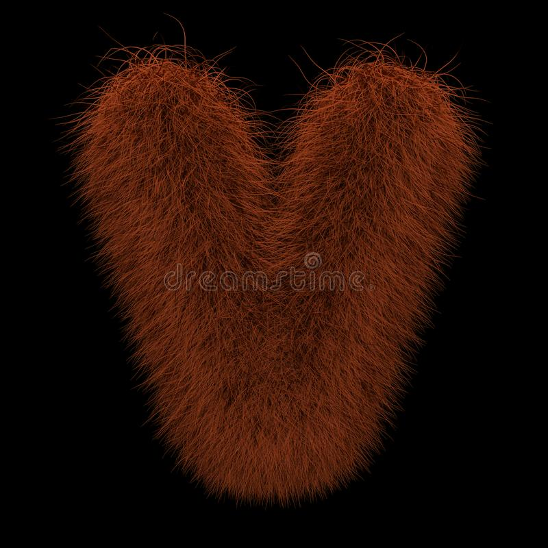 3D que rende a ilustração criativa Ginger Orangutan Furry Letter V ilustração royalty free
