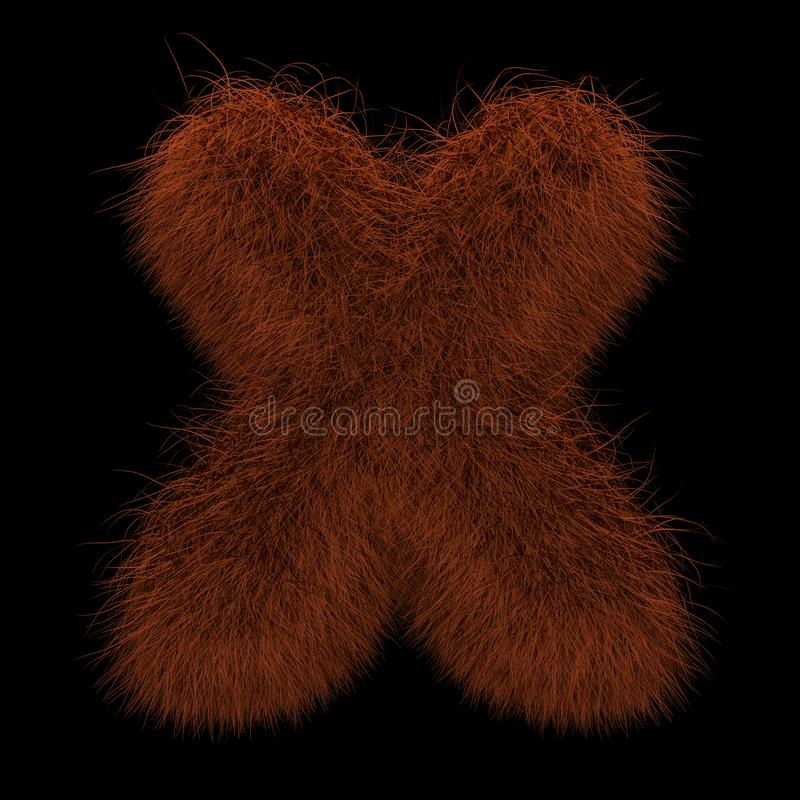 3D que rende a ilustração criativa Ginger Orangutan Furry Letter X ilustração royalty free