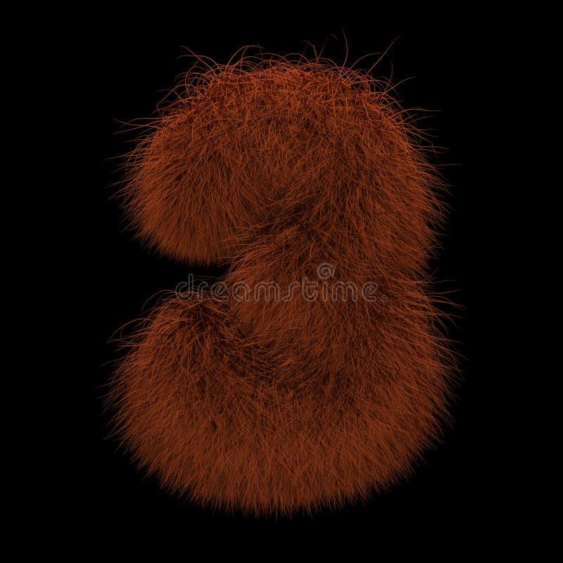 3D que rende a ilustração criativa Ginger Orangutan Furry Number 3 ilustração stock