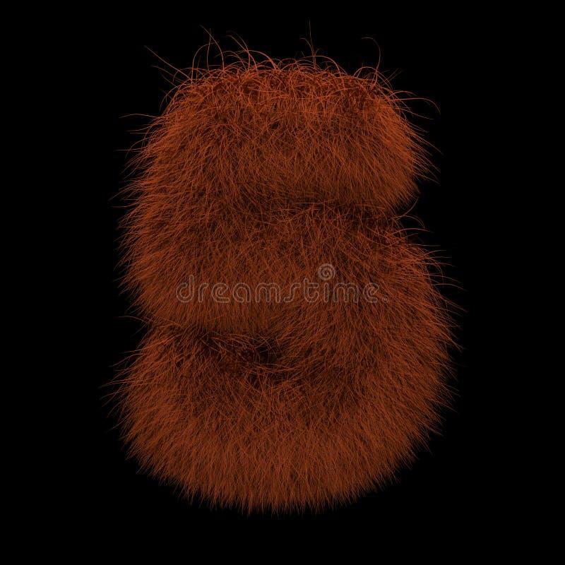 3D que rende a ilustração criativa Ginger Orangutan Furry Number 5 ilustração stock