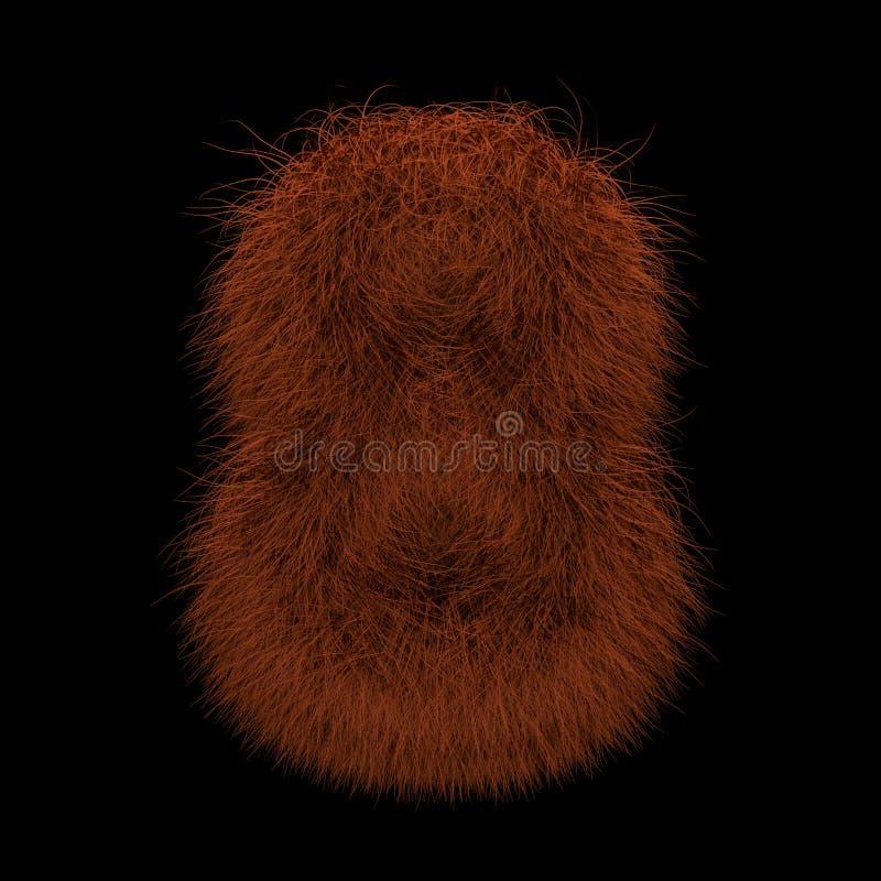 3D que rende a ilustração criativa Ginger Orangutan Furry Number 8 ilustração stock