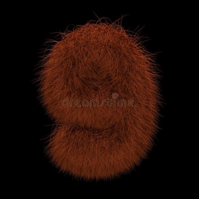 3D que rende a ilustração criativa Ginger Orangutan Furry Number 9 ilustração do vetor