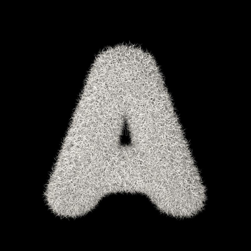3D que rende a letra peludo branca A da ilustração criativa ilustração do vetor