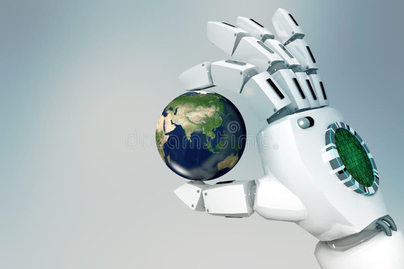 3D que rende a mão do robô guarda o globo em um fundo claro ilustração royalty free