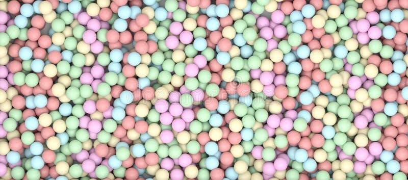 3D que rende muitas esferas coloridos ilustração royalty free