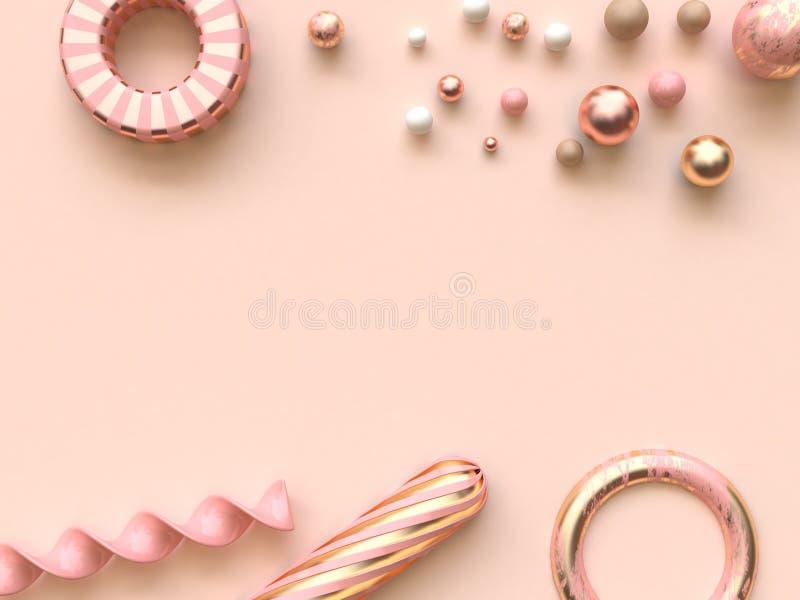 3d que rende muitos da forma metálica cor-de-rosa do sumário do ouro da esfera fundo colocado liso ilustração do vetor