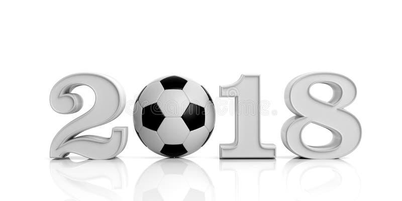 3d que rende o ano novo 2018 com bola de futebol ilustração royalty free