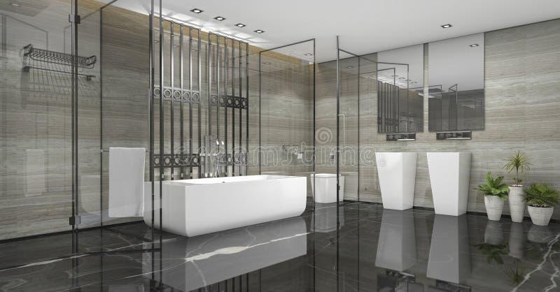 3d que rende o banheiro moderno do sótão com a decoração luxuosa da telha ilustração do vetor