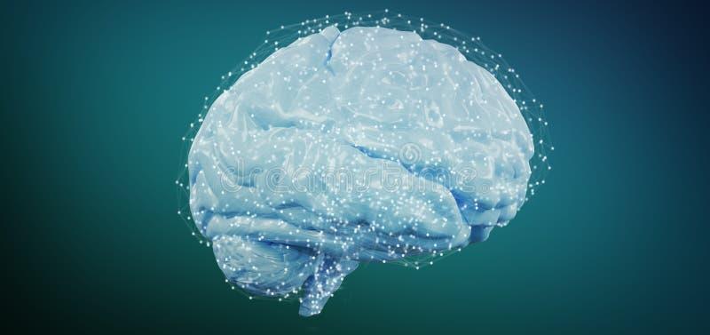 3d que rende o cérebro artificial isolado em um fundo imagem de stock