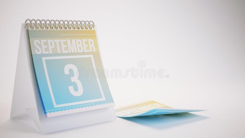 3D que rende o calendário na moda das cores no fundo branco - septem ilustração stock