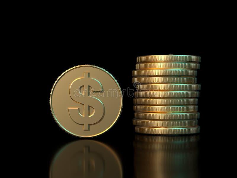 3d que rende o conceito da economia do negócio do fundo do preto do símbolo do dólar da moeda de ouro ilustração stock