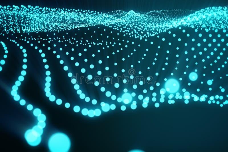3d que rende o espaço poligonal abstrato no fundo escuro com conexão de pontos e de linhas azuis Estrutura da conexão ilustração stock