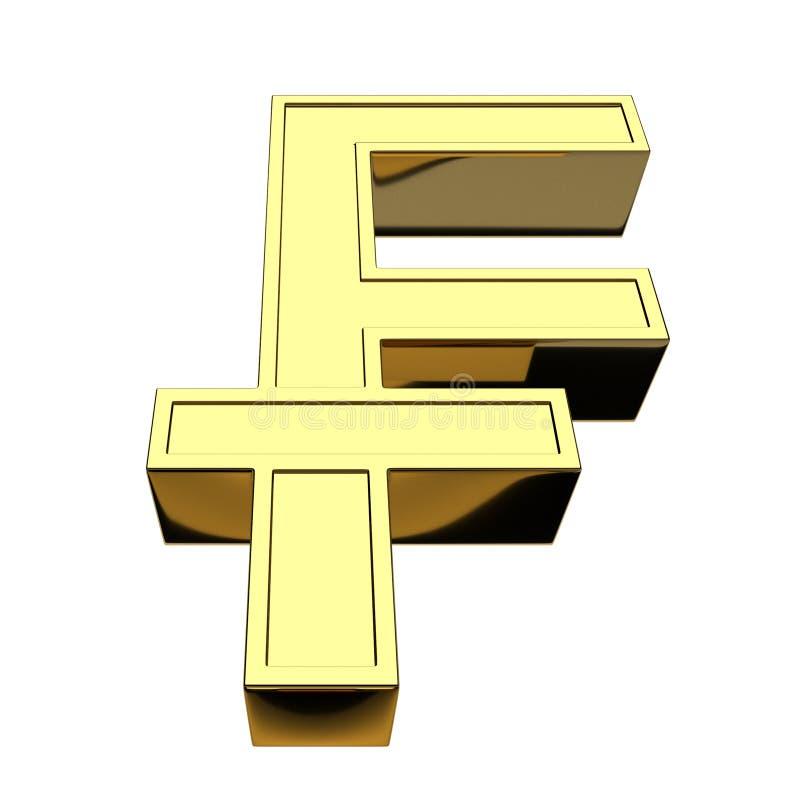 3D que rende o franco suíço de símbolo de moeda, dourado, isolado no fundo branco ilustração royalty free
