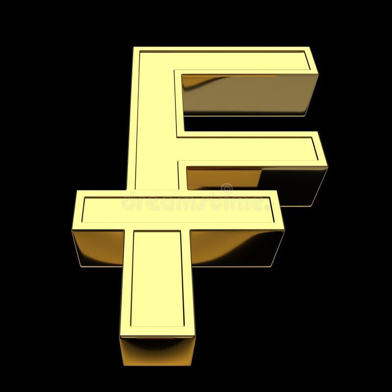 3D que rende o franco suíço de símbolo de moeda, dourado, isolado no fundo preto ilustração stock