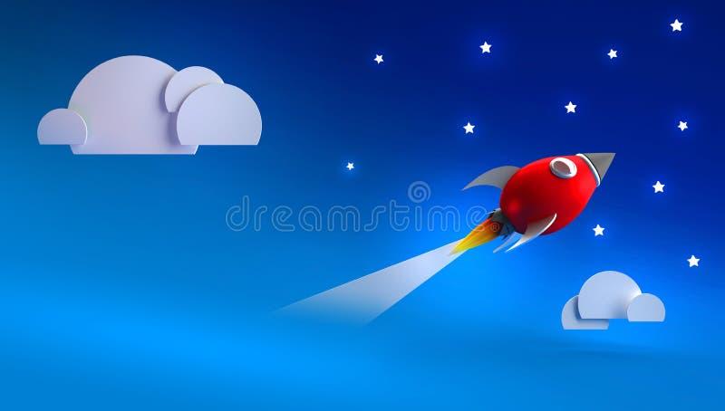 3d que rende o fundo com foguete vermelho decola através da nuvem às estrelas ilustração do vetor