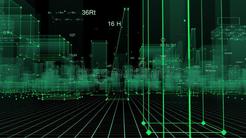 3D que rende o fundo digital tecnologico que consiste em uma cidade futurista com dados ilustração do vetor