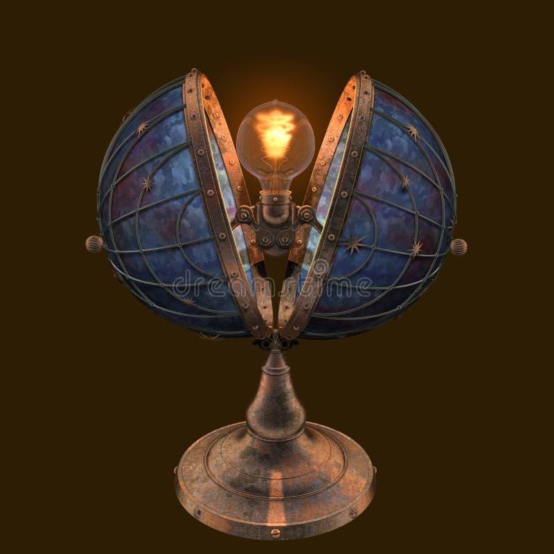3D que rende o globo do estilo do steampunk deu forma ? l?mpada de Edison com estrelas ilustração do vetor