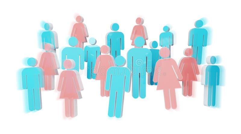 3D que rende o grupo de pessoas com homem azul e a mulher cor-de-rosa ilustração royalty free