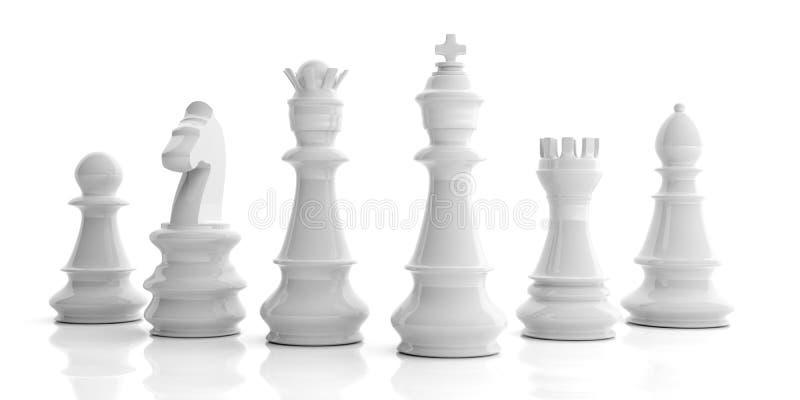 3d que rende o grupo de xadrez básico no fundo branco ilustração stock