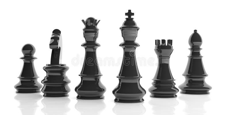 3d que rende o grupo de xadrez básico no fundo branco ilustração do vetor