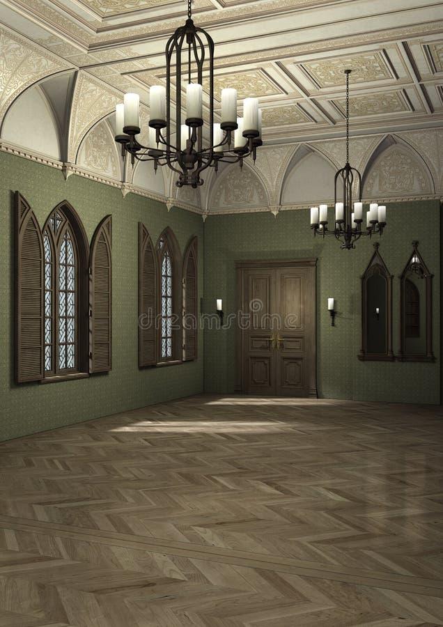 3D que rende o palácio escuro ilustração royalty free