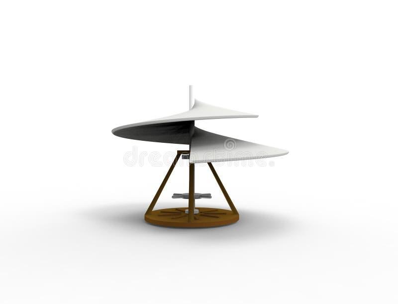 3d que rende o parafuso aéreo da hélice de Leonardo Da Vinci isolado no branco ilustração do vetor