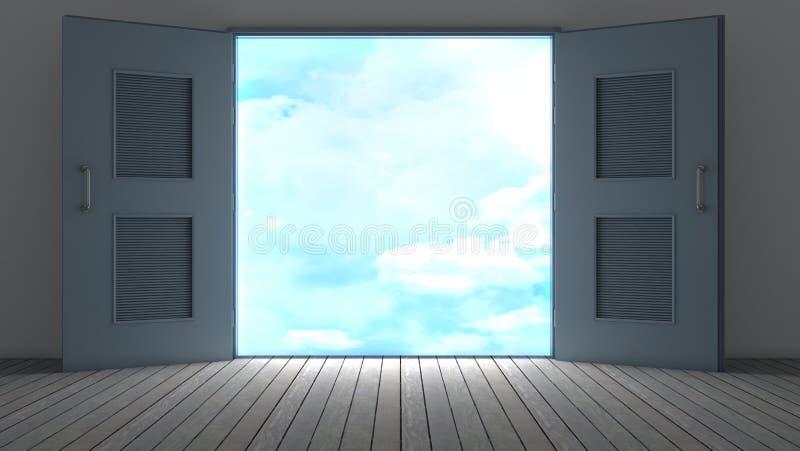 3d que rende o quarto vazio com porta aberta ilustração royalty free