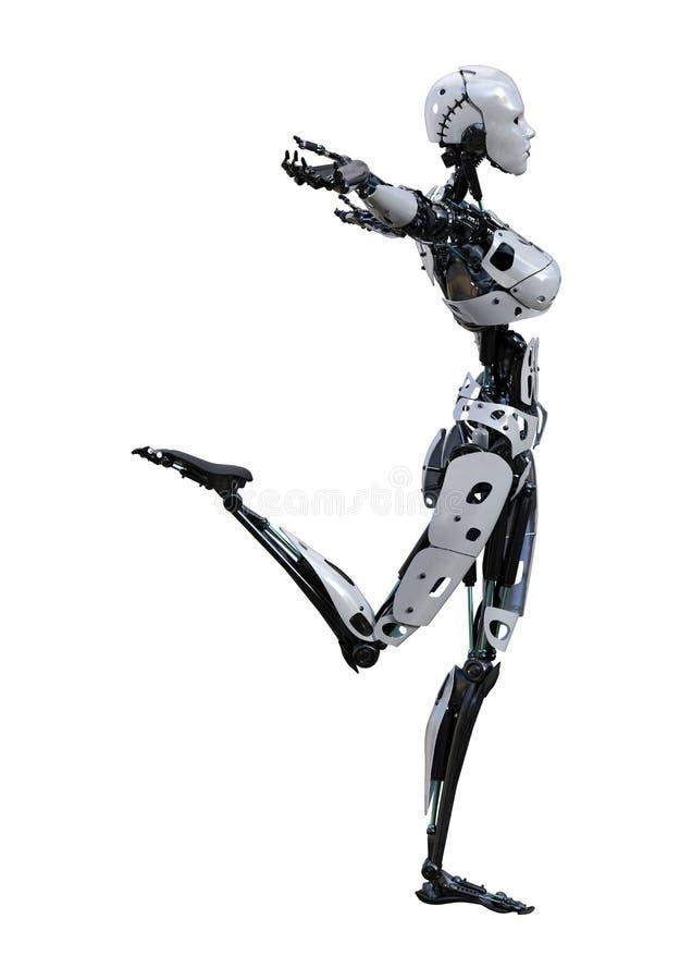 3D que rende o robô fêmea no branco ilustração royalty free