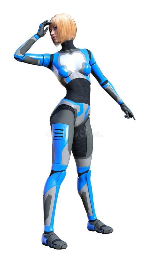 3D que rende o robô fêmea no branco ilustração do vetor