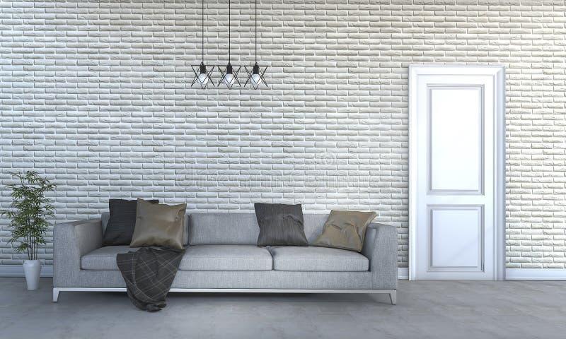 3d que rende o sofá enorme bonito na sala de visitas brilhante ilustração royalty free