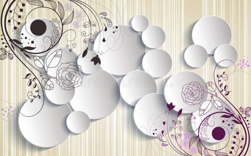 3d que rende o sumário mural do papel de parede com ornamento das flores e a decoração branca dos círculos ilustração do vetor