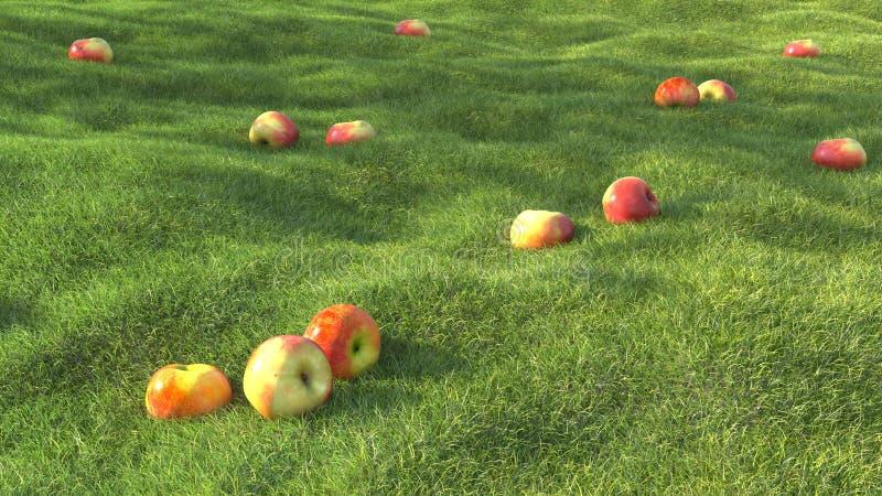 3D que rende o verão realístico do campo de grama verde com maçã ilustração royalty free
