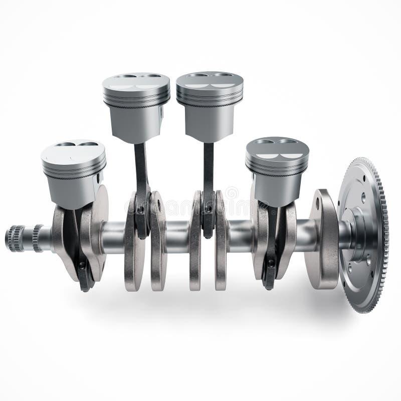 3D que rende os pistões e a roda denteada do motor V4 isolados no fundo branco Pistões e eixo de manivela Motor de quatro cilindr ilustração stock