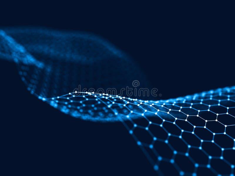 3d que rende pontos e linhas futuristas abstratos estrutura digital geométrica da conexão do computador ilustração stock