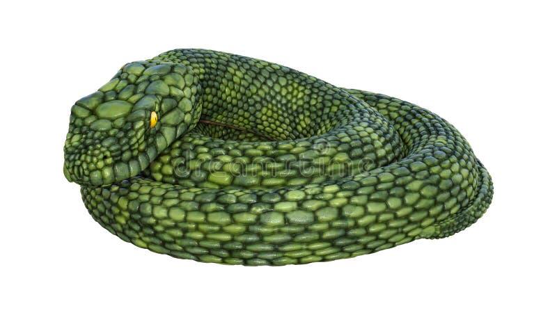 3D que rende a serpente gigante da fantasia no branco ilustração do vetor